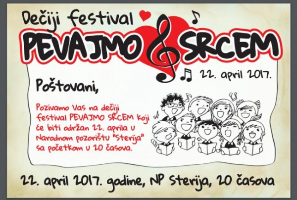 """Dečiji festival """"Pevajmo srcem"""" u Narodnom pozorištu """"Sterija"""""""